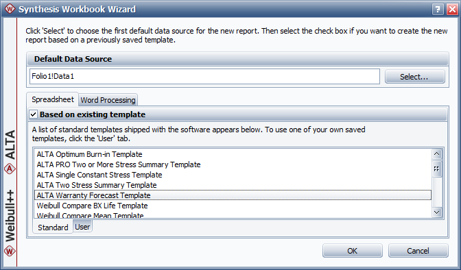 Figure 5: Setting up a new Synthesis Workbook.