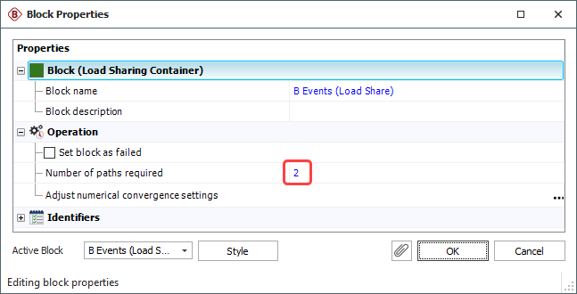 Figure 7: Block Properties Window of Load Sharing Container
