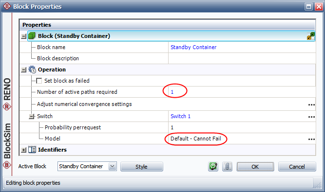 Figure 10: Block Properties Window of Standby Container