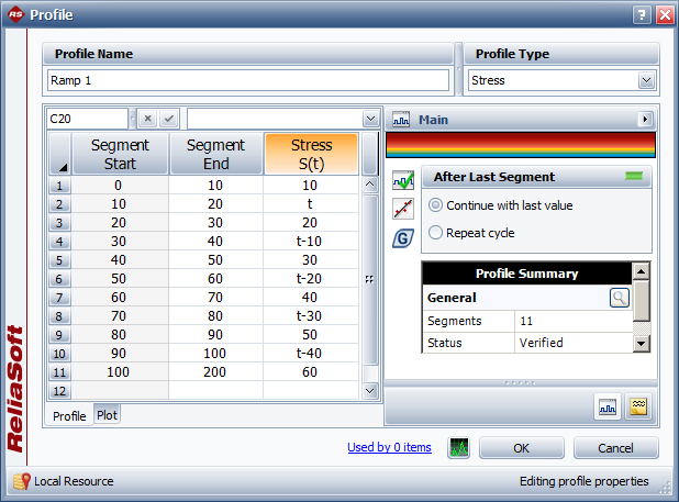 Ramp-stress profile defined in the ALTA PRO Stress Profile Explorer